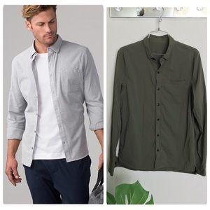 Lululemon Recommission green buttondown shirt